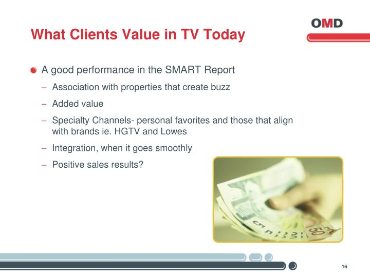 What Clients Value in TV Today