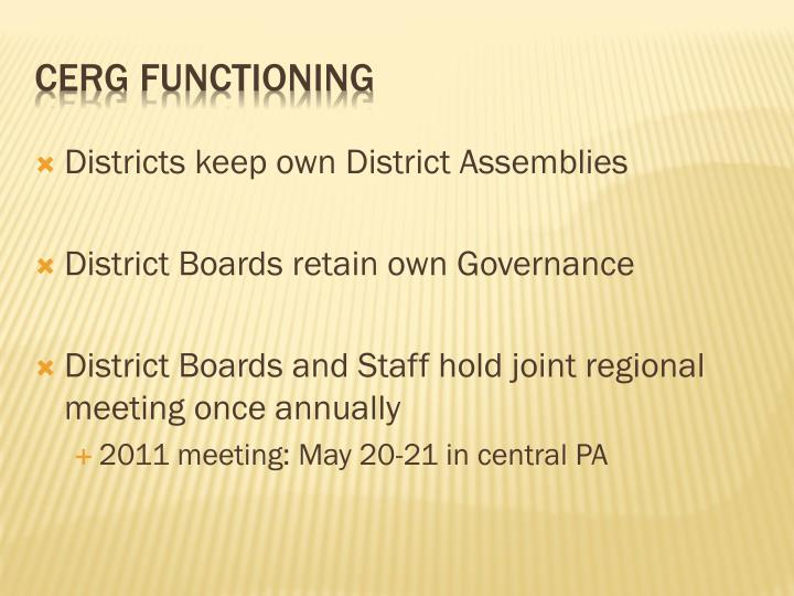Districts keep own District Assemblies