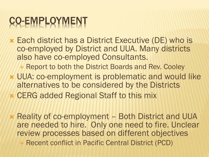 Each district has a District Executive (DE) who is co-employed by District and UUA. Many districts also have co-employed Consultants.