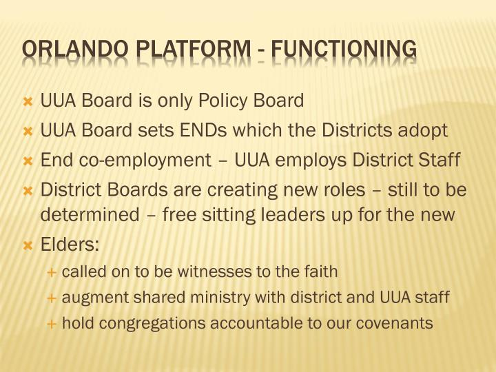 UUA Board is only Policy Board