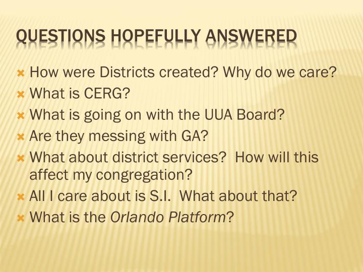 How were Districts created? Why do we care?