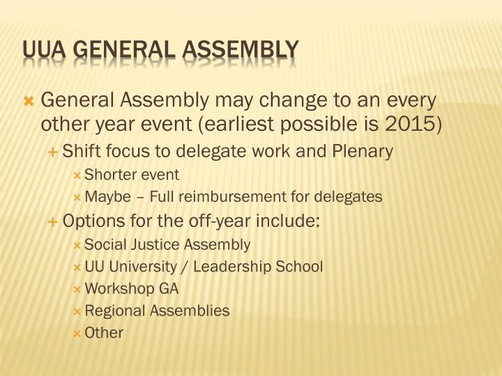 General Assembly may change to an every other year event (earliest possible is 2015)