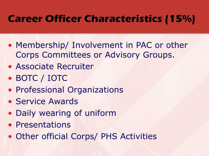 Career Officer Characteristics (15%)