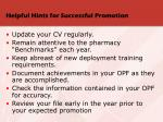 helpful hints for successful promotion