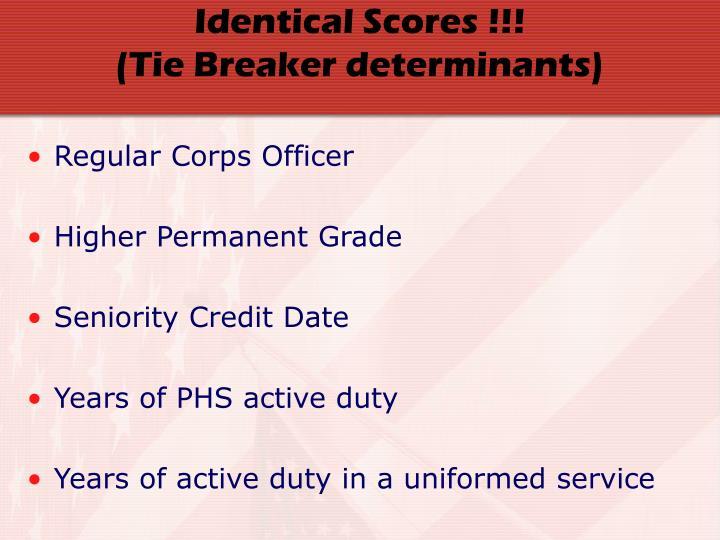 Identical Scores !!!
