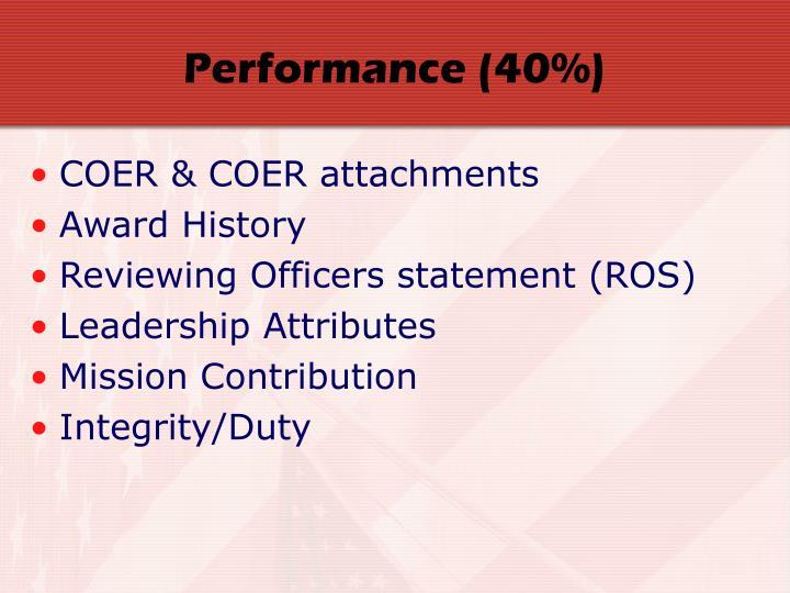 Performance (40%)
