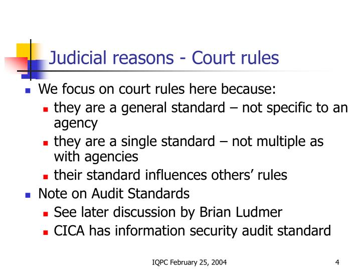 Judicial reasons - Court rules