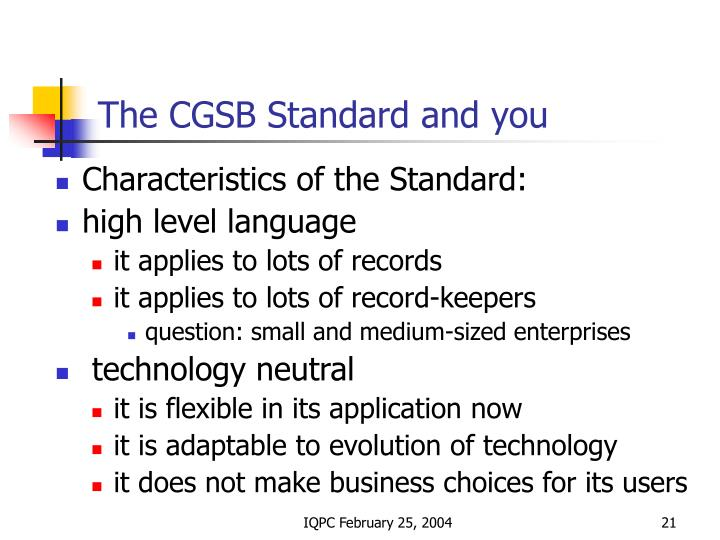 The CGSB Standard and you