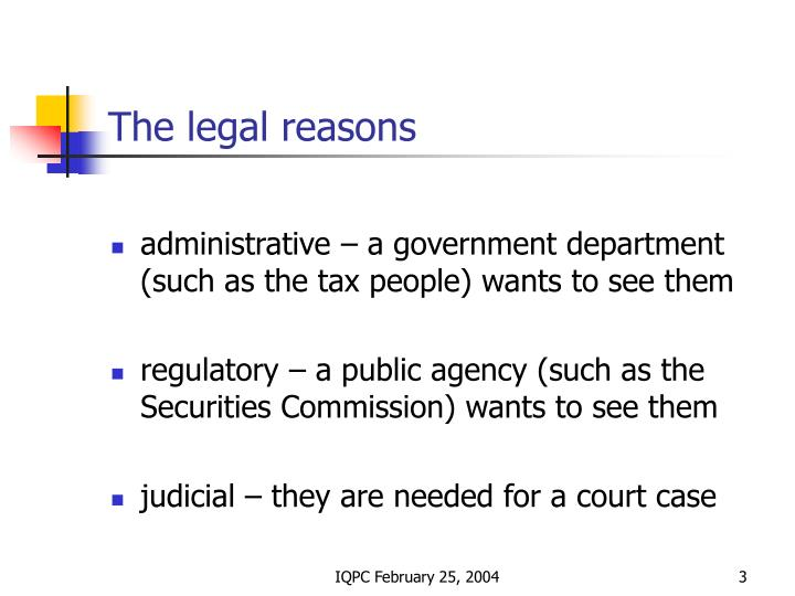 The legal reasons