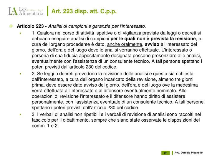 Art. 223 disp. att. C.p.p.