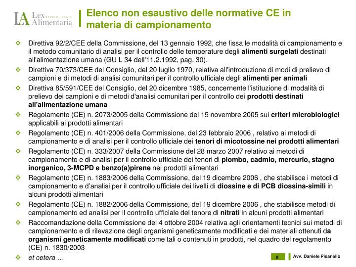 Elenco non esaustivo delle normative CE in materia di campionamento