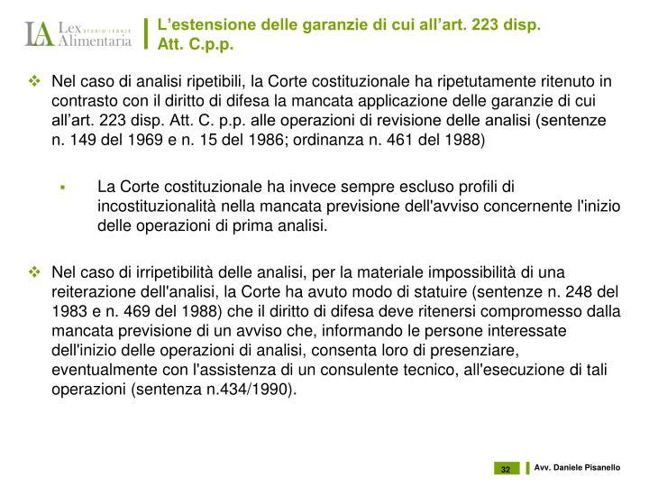 L'estensione delle garanzie di cui all'art. 223 disp. Att. C.p.p.