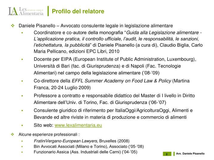Profilo del relatore