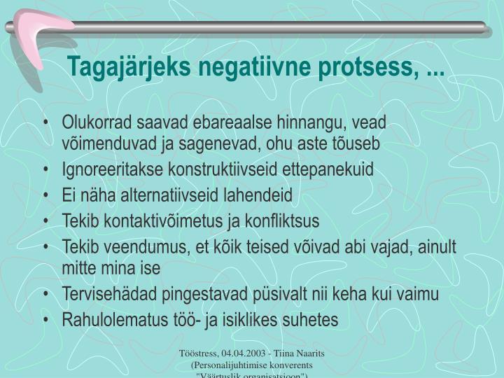 Tagajärjeks negatiivne protsess, ...
