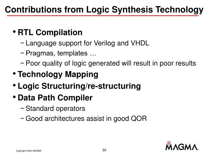 Contributions from Logic Synthesis Technology