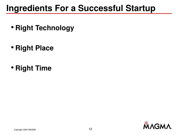 Ingredients For a Successful Startup