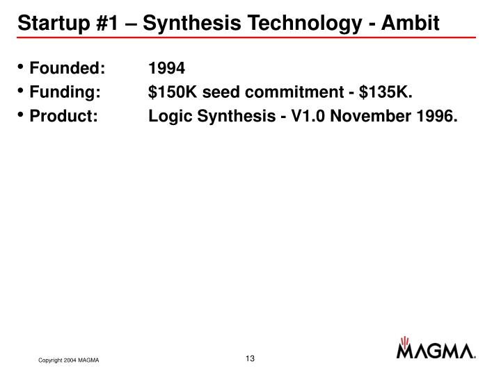 Startup #1 – Synthesis Technology - Ambit