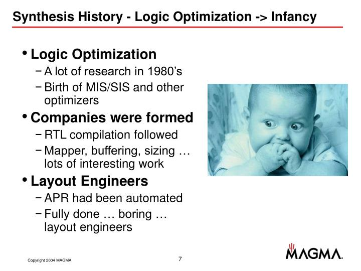 Synthesis History - Logic Optimization -> Infancy