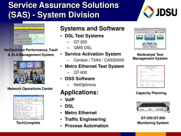 Service Assurance Solutions (SAS) - System Division