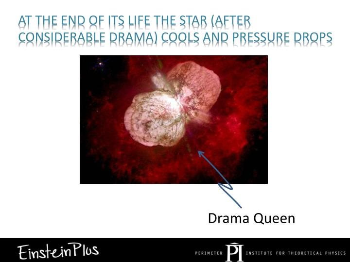 At the end of its life the star (after considerable drama) cools and pressure drops