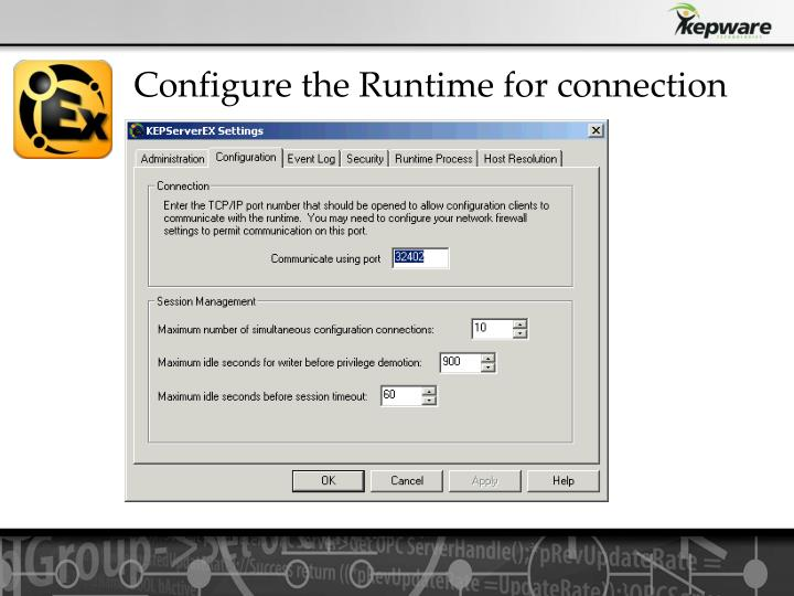 Configure the Runtime for connection