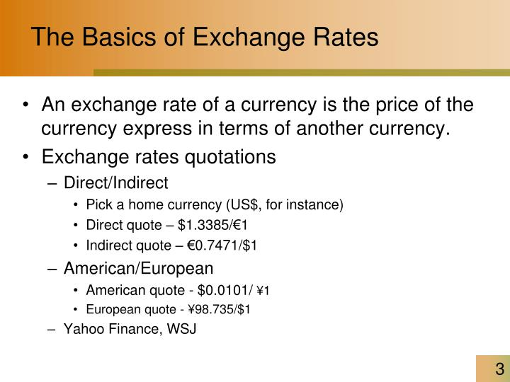 The Basics of Exchange Rates