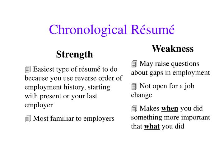 Chronological Résumé