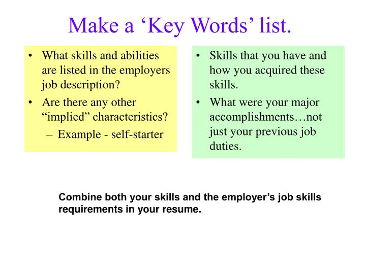 What skills and abilities are listed in the employers job description?