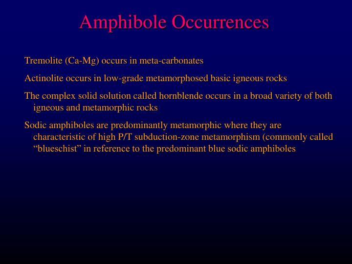 Amphibole Occurrences