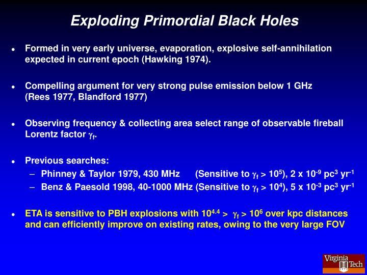 Exploding Primordial Black Holes