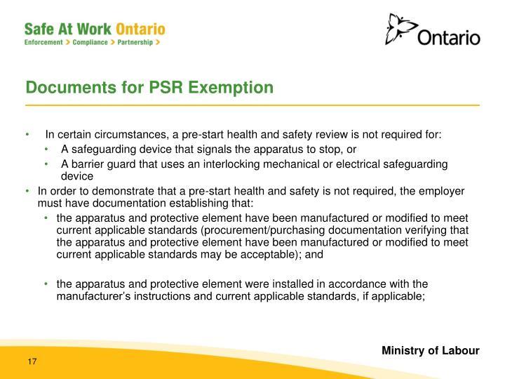 Documents for PSR Exemption
