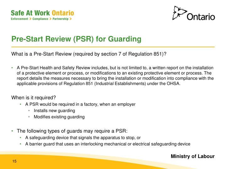 Pre-Start Review (PSR) for Guarding