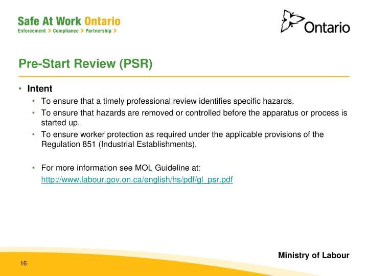 Pre-Start Review (PSR)