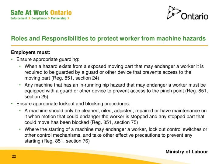 Roles and Responsibilities to protect worker from machine hazards