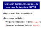 valuation des l sions h patiques au cours des co infections vih vhb