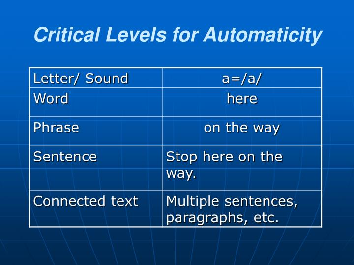 Critical Levels for Automaticity