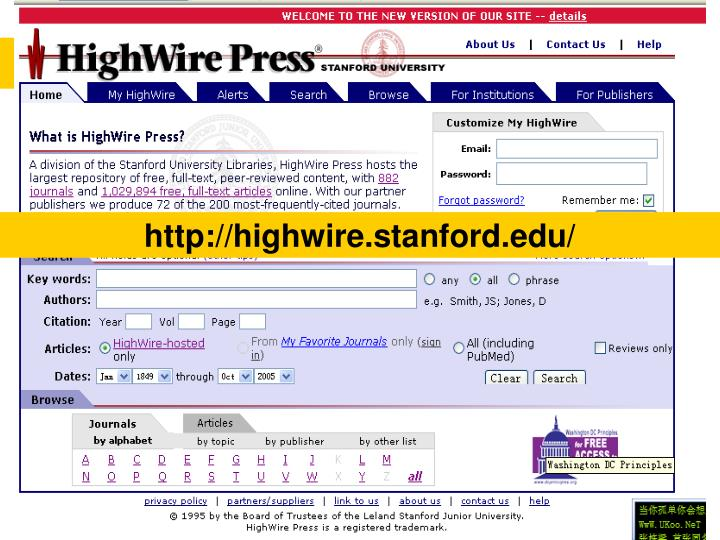 http://highwire.stanford.edu/