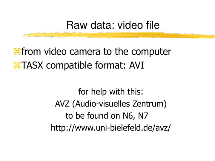 Raw data video file