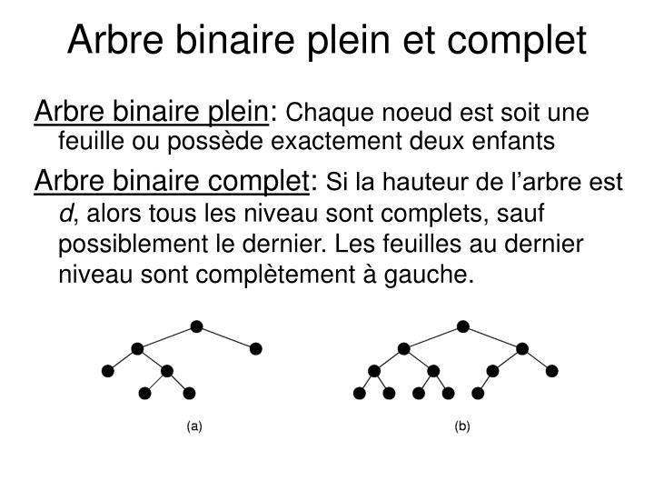 Arbre binaire plein et complet