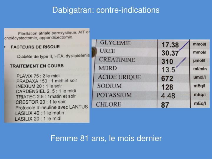 Dabigatran: contre-indications