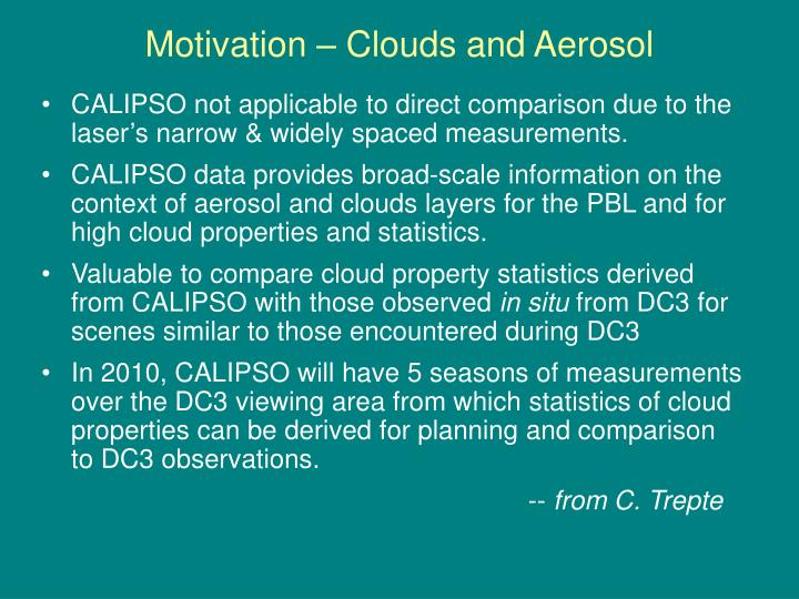 Motivation – Clouds and Aerosol