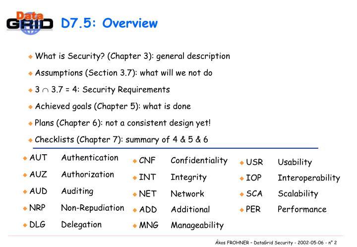D7.5: Overview