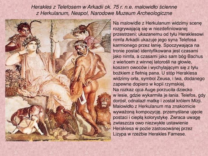 Herakles zTelefosem wArkadii ok. 75r. n.e. malowidło ścienne