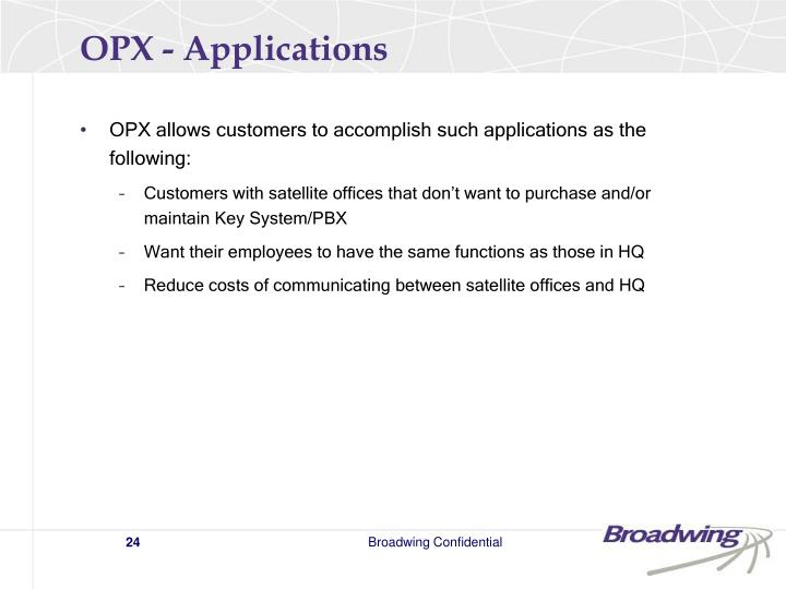 OPX - Applications
