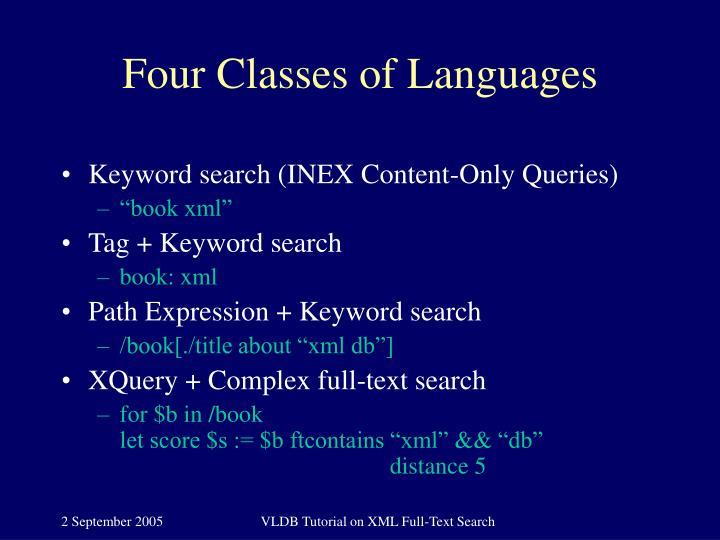 Four Classes of Languages