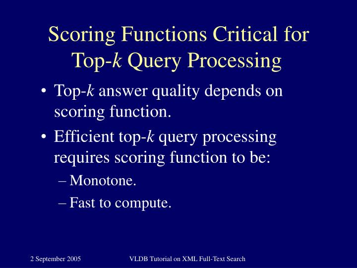 Scoring Functions Critical for Top-