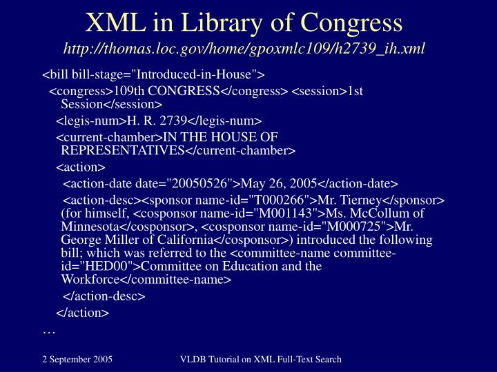 XML in Library of Congress