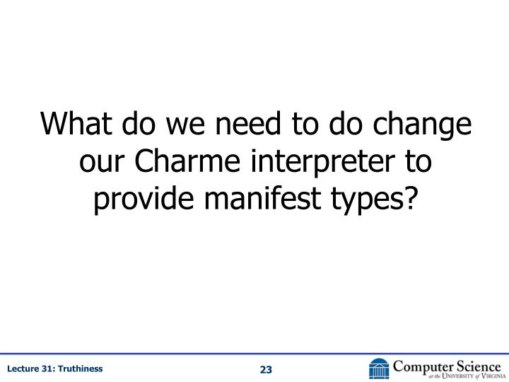 What do we need to do change our Charme interpreter to provide manifest types?