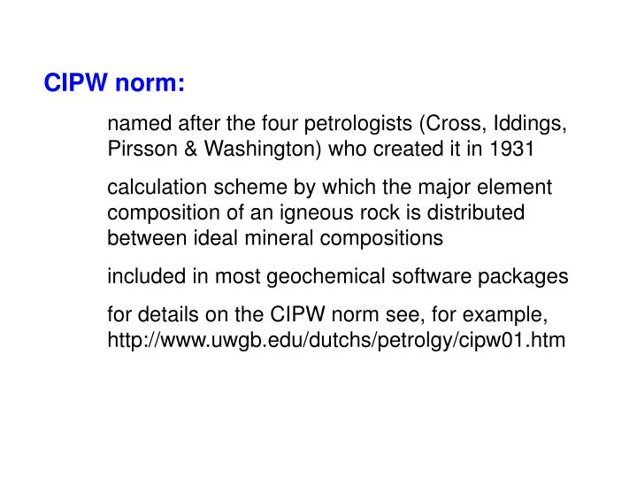CIPW norm:
