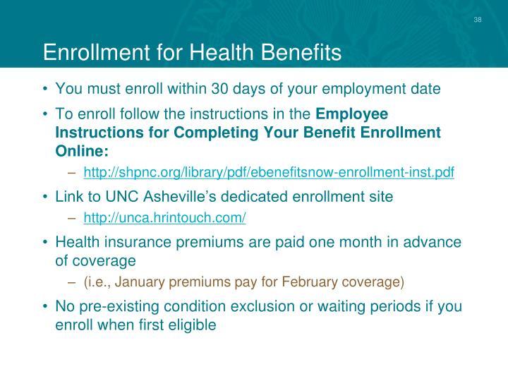 Enrollment for Health Benefits